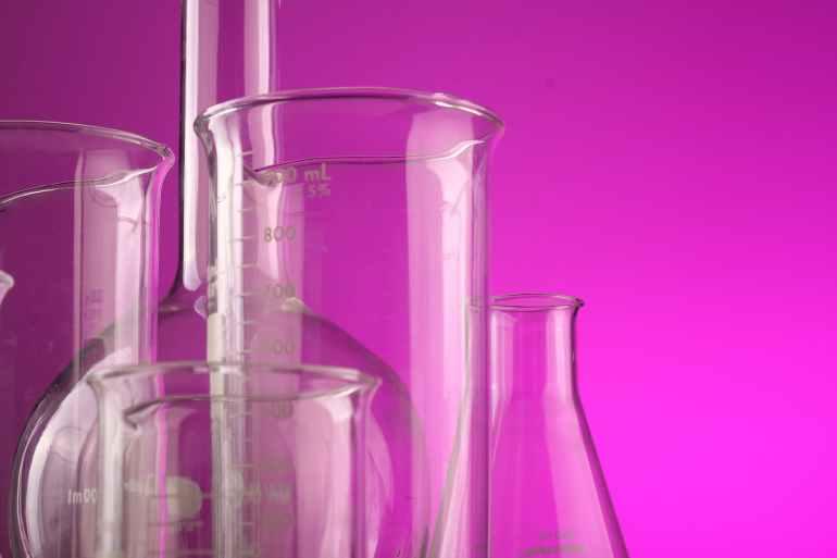 several laboratory glasses